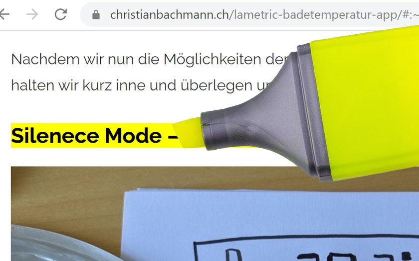 Markeriung Webseite